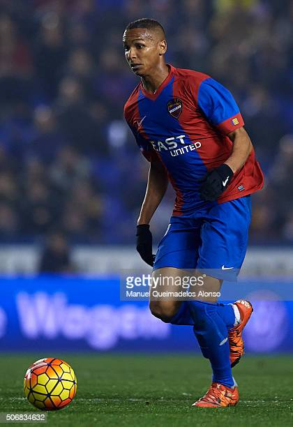 Deyverson of Levante in action during the La Liga match between Levante UD and UD Las Palmas at Ciutat de Valencia Stadium on January 25 2016 in...