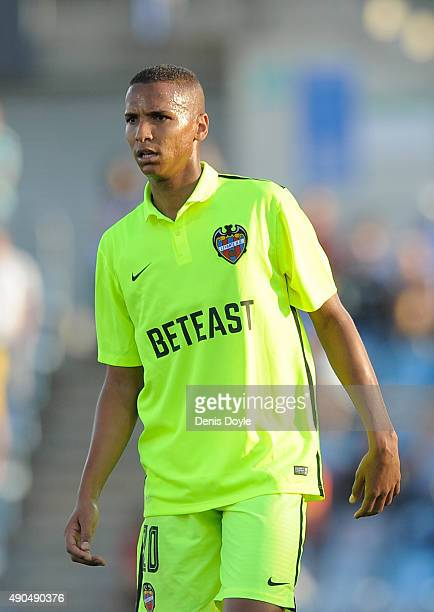Deyverson of Levante looks on during the La Liga match between Getafe and Levante at estadio Coliseum Alfonso Perez on September 27 2015 in Getafe...