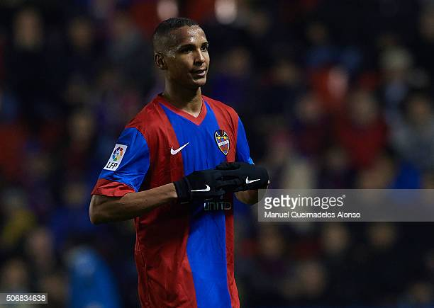 Deyverson of Levante looks on during the La Liga match between Levante UD and UD Las Palmas at Ciutat de Valencia Stadium on January 25 2016 in...