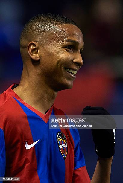 Deyverson of Levante reacts during the La Liga match between Levante UD and UD Las Palmas at Ciutat de Valencia Stadium on January 25 2016 in...