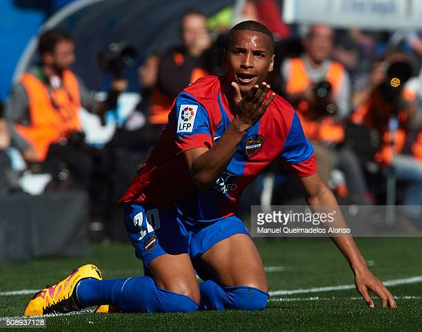 Deyverson of Levante reacts on the pitch during the La Liga match between Levante UD and FC Barcelona at Ciutat de Valencia on February 07 2016 in...