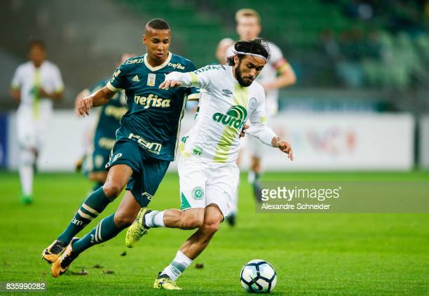 Deyverson of Palmeiras and Apodi of Chapecoense in action during the match between Palmeiras and Chapecoense for the Brasileirao Series A 2017 at...
