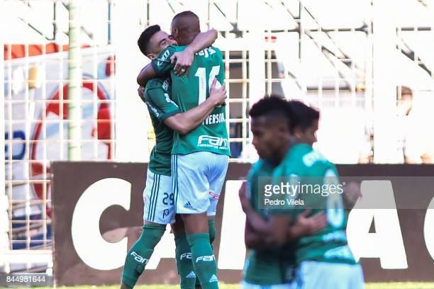 Deyverson of Palmeiras celebrates a scored goal against Atletico MG during a match between Atletico MG and Palmeiras as part of Brasileirao Series A...