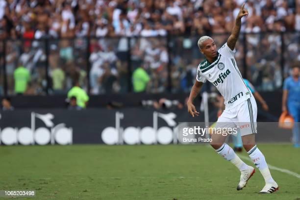 Deyverson of Palmeiras celebrates after scoring a goal during a match between Vasco and Palmeiras as part of Brasileirao Series A 2018 at Sao...