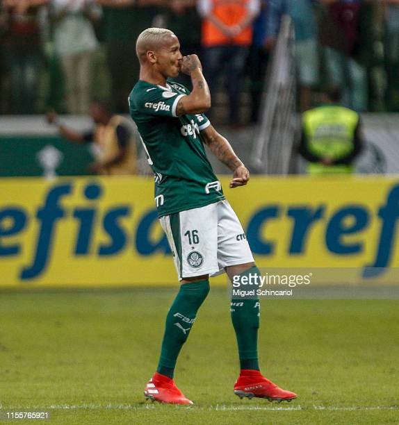 Deyverson of Palmeiras celebrates after scoring the first goal of his team during a match between Palmeiras and Avai for the Brasileirao Series A...