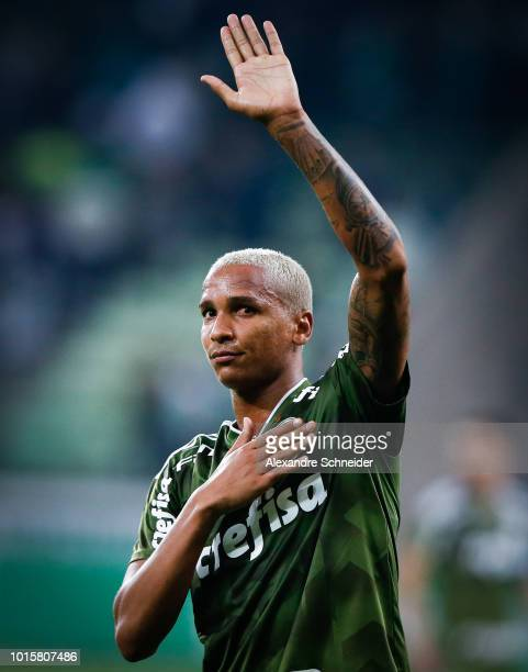 Deyverson of Palmeiras celebrates after scoring their fisrt goal during the match between Palmeiras and Vasco da Gama for the Brasileirao Series A...