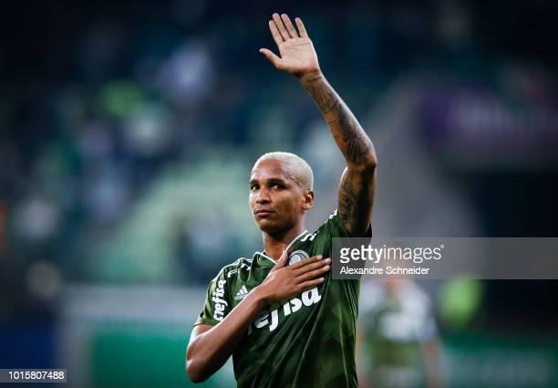 Deyverson of Palmeiras celebrates after scoring their fisrt goal during the match between Palmeiras and Vasco da Gama for the Brasileirao Series A...