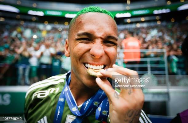 Deyverson of Palmeiras celebrates after winning the Brasileirao 2018 after the match against Vitora at Allianz Parque Stadium on December 02 2018 in...