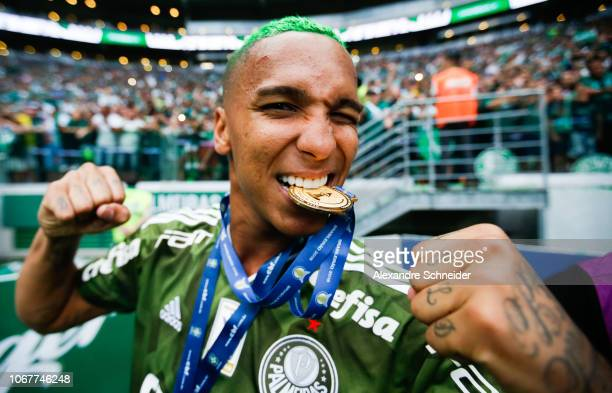 Deyverson of Palmeiras celebrates after winning the Brasileirao 2018 after the match against Vitora at Allianz Parque Stadium on December 02 2018 in...