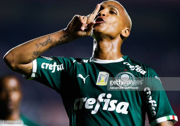 Deyverson of Palmeiras celebrates his team's goal during the match against Sao Paulo for the Brasileirao Series A 2019 at Morumbi Stadium on July 13...
