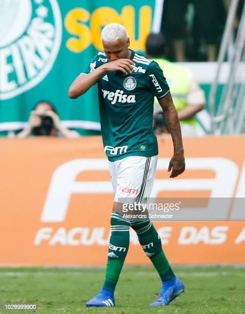 Deyverson of Palmeiras celebrates their first goal during the match against Corinthians for the Brasileirao Series A 2018 at Allianz Parque Stadium...