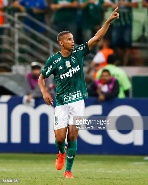 Deyverson of Palmeiras celebrates their fourth goal during the match against Sport Recife for the Brasileirao Series A 2017 at Allianz Parque Stadium...
