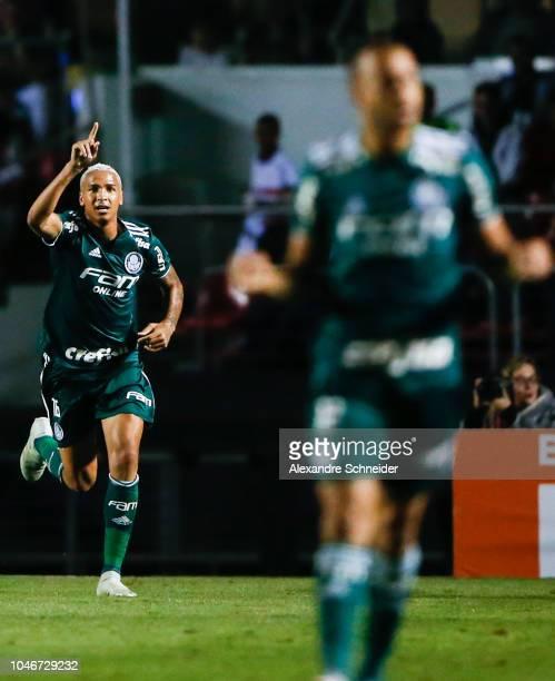 Deyverson of Palmeiras celebrates their second goal during the match against Sao Paulo for the Brasileirao Series A 2018 at Morumbi Stadium on...