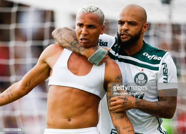 Deyverson of Palmeiras celebrates with his teammate after scoring the first goal of his team during the match against Vasco da Gama for the...