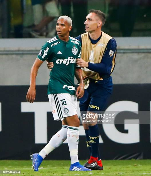 Deyverson of Palmeiras leaves the field during the match against Cerro Porteno for the Copa CONMEBOL Libertadores 2018 at Allianz Parque Stadium on...