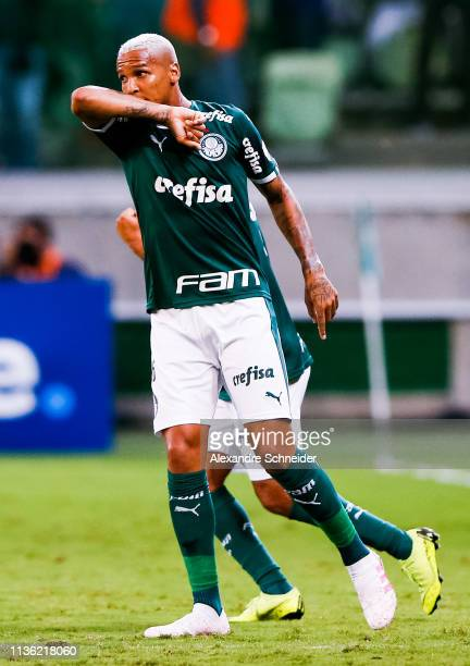 Deyverson of Palmeiras of Brazil celebrates after scoring his team's first goal against Junior during the match for the Copa CONMEBOL Libertadores...