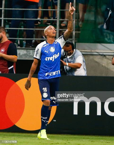 Deyverson of Palmeiras of Brazil celebrates after scoring the third goal of his team during the match against Melgar of Peru for the Copa CONMEBOL...