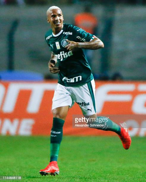 Deyverson of Palmerias celebrates aftere scoring his team's second goal during the match against Santos for the Brasileirao Series A 2019 at Pacaembu...