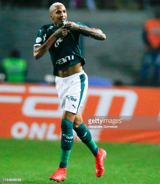 Deyverson of Palmerias celebrates his team's second goal during the match against Santos for the Brasileirao Series A 2019 at Pacaembu Stadium on May...