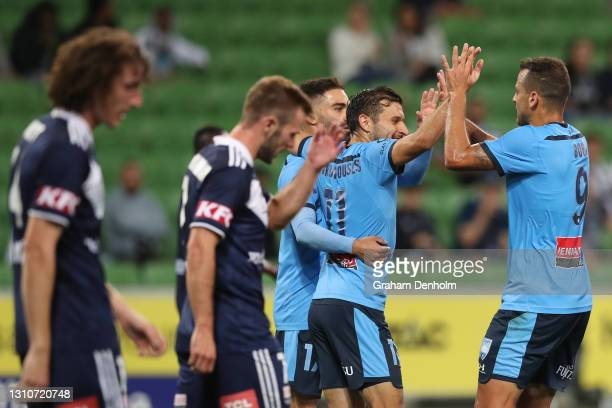 Deyvison Da Silva of Sydney FC celebrates his goal during the A-League match between Melbourne Victory and Sydney FC at AAMI Park, on April 04 in...