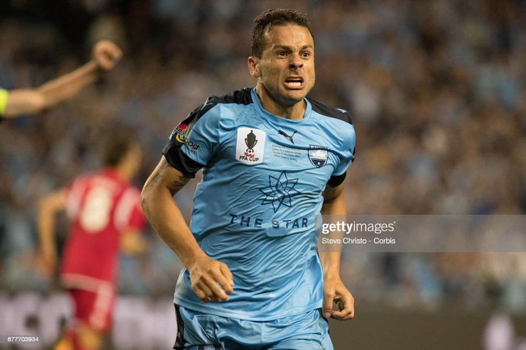 Deyvison Rogerio da Silva, Bobo of Sydney FC celebrates scoring the winning goal during the FFA Cup Final match between Sydney FC and Adelaide United at Allianz Stadium on November 21, 2017 in Sydney, Australia.