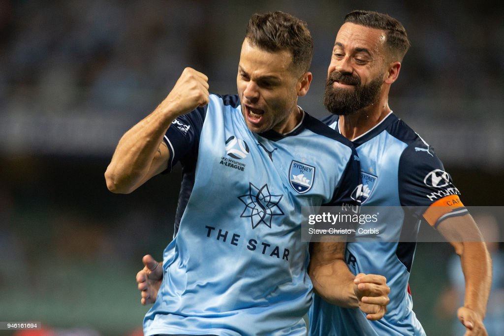 Deyvison Rogerio da Silva, Bobo of Sydney FC reacts to scoring a goal during the round 27 A-League match between the Sydney FC and the Melbourne Victory at Allianz Stadium on April 13, 2018 in Sydney, Australia.
