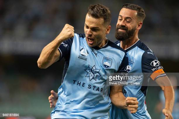 Deyvison Rogerio da Silva Bobo of Sydney FC reacts to scoring a goal during the round 27 ALeague match between the Sydney FC and the Melbourne...