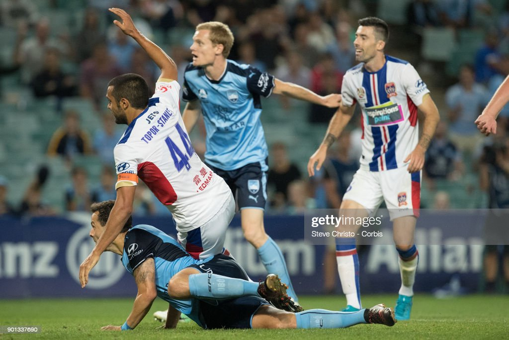 Deyvison Rogerio da Silva, Bobo of Sydney FC scores a goal during the round fourteen A-League match between the Sydney FC and Newcastle Jets FC at Allianz Stadium on January 3, 2018 in Sydney, Australia.