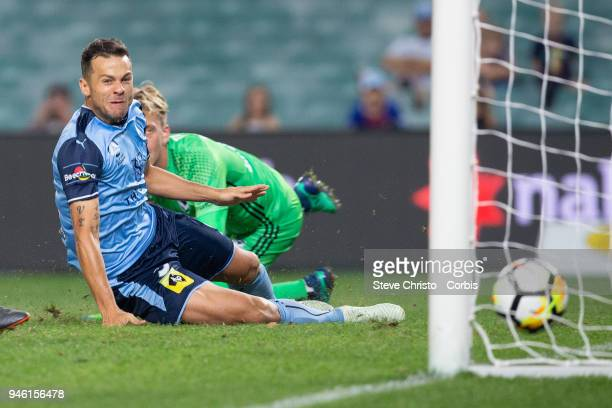 Deyvison Rogerio da Silva Bobo of Sydney FC scores a goal during the round 27 ALeague match between the Sydney FC and the Melbourne Victory at...