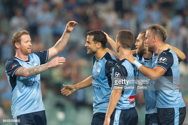 Deyvison Rogerio da Silva Bobo of the Sydney celebrates scoring his first goal during the round 26 ALeague match between Sydney FC and Adelaide...
