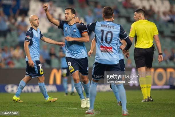 Deyvison Rogerio da Silva Bobo of the Sydney celebrates scoring his second goal during the round 26 ALeague match between Sydney FC and Adelaide...