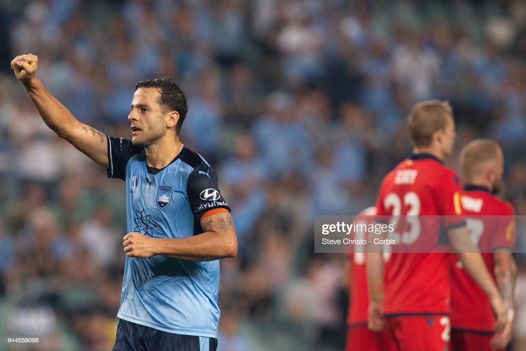 Deyvison Rogerio da Silva, Bobo of the Sydney celebrates scoring his second goal during the round 26 A-League match between Sydney FC and Adelaide United at Allianz Stadium on April 8, 2018 in Sydney, Australia.