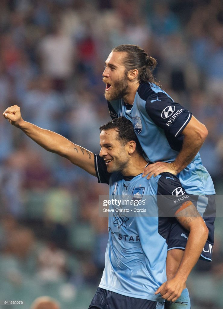Deyvison Rogerio da Silva, Bobo of the Sydney celebrates scoring his second goal with Joshua Brillante during the round 26 A-League match between Sydney FC and Adelaide United at Allianz Stadium on April 8, 2018 in Sydney, Australia.