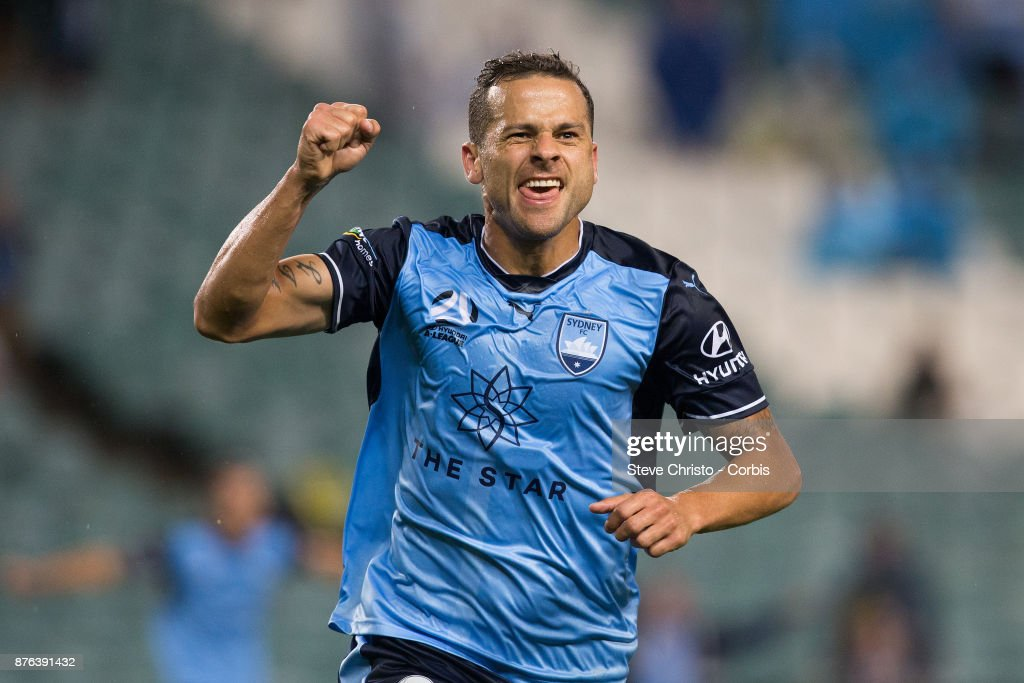 Deyvison Rogério da Silva, Bobô of the Sydney FC celebrates scoring the winning goal during the round seven A-League match between Sydney FC and Newcastle Jets at Allianz Stadium on November 18, 2017 in Sydney, Australia.