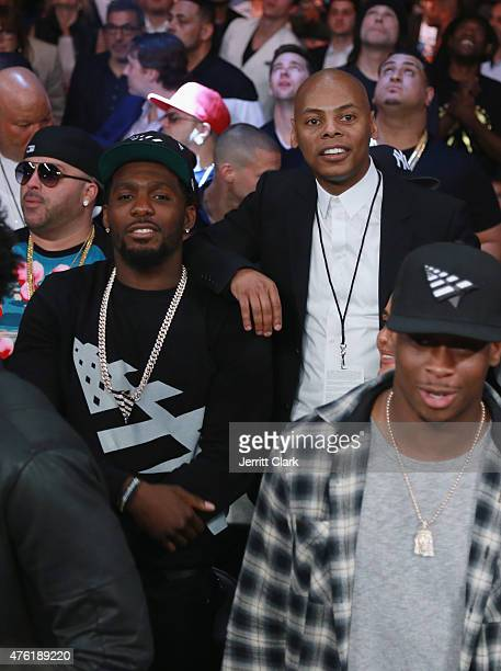 Dez Bryant and Tyran 'Ty Ty' Smith attend the WBC Middleweight Championship fight between Miguel Cotto and Daniel Geale presented by Roc Nation...
