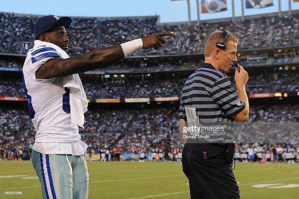 Dez Bryant Of The Dallas Cowboys And Head Coach Jason