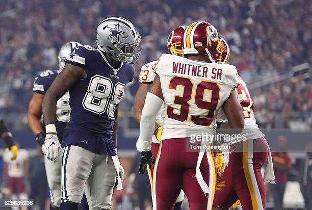 Dez Bryant of the Dallas Cowboys argues with Josh Norman of the Washington Redskins after catching a pass during the fourth quarter of their game at...