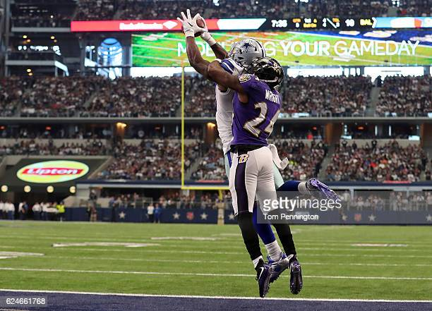 Dez Bryant of the Dallas Cowboys catches a touchdown pass from quarterback Dak Prescott during the third quarter against the Baltimore Ravens at AT&T...