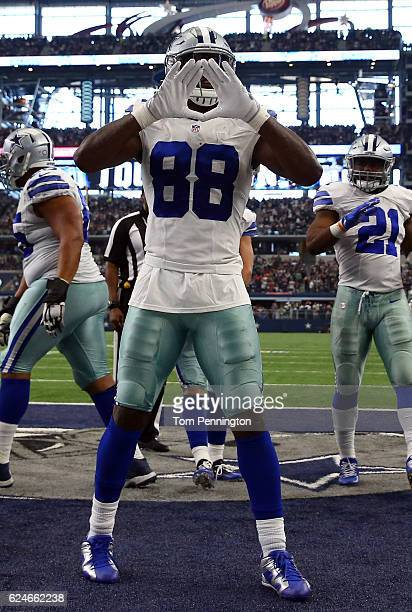 Dez Bryant of the Dallas Cowboys celebrates after catching a touchdown pass from quarterback Dak Prescott during the third quarter against the...