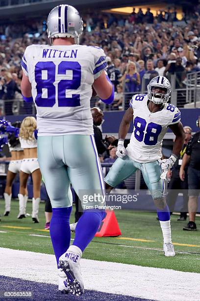 Dez Bryant of the Dallas Cowboys celebrates after throwing a touchdown pass to Jason Witten of the Dallas Cowboys against the Detroit Lions in the...