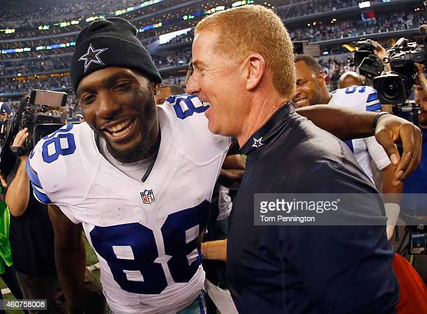 Dez Bryant of the Dallas Cowboys celebrates with head coach Jason Garrett of the Dallas Cowboys after the Cowboys beat the Colts 42-7 at AT&T Stadium...