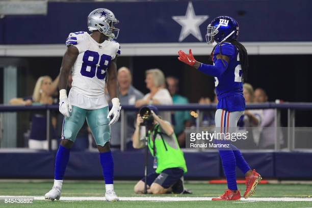 Dez Bryant of the Dallas Cowboys has words with Janoris Jenkins of the New York Giants in the first half of a game at ATT Stadium on September 10...