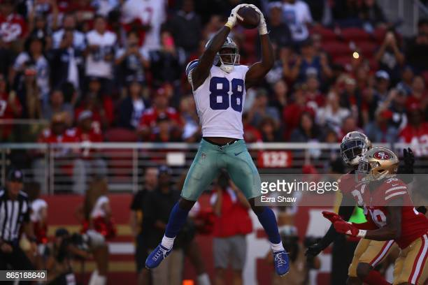 Dez Bryant of the Dallas Cowboys makes a catch for a twoyard touchdown against the San Francisco 49ers during their NFL game at Levi's Stadium on...