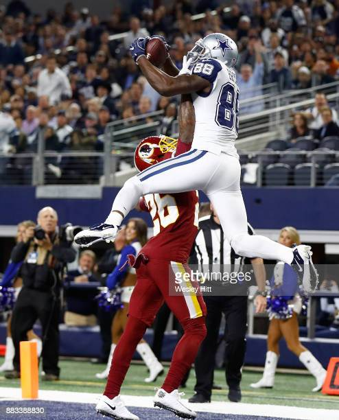Dez Bryant of the Dallas Cowboys makes a touchdown reception against Bashaud Breeland of the Washington Redskins in the fourth quarter of a football...