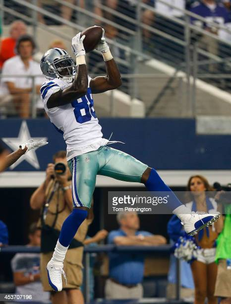 Dez Bryant of the Dallas Cowboys makes the catch against the Baltimore Ravens in the first half of their preseason game at AT&T Stadium on August 16,...