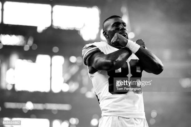 Dez Bryant of the Dallas Cowboys prepares to take on the New York Giants at ATT Stadium on September 10 2017 in Arlington Texas