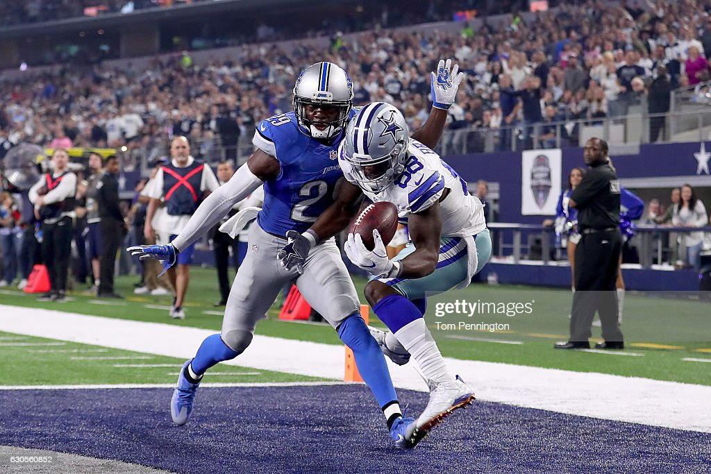 Dez Bryant #88 of the Dallas Cowboys pulls in a touchdown pass against Johnson Bademosi #29 of the Detroit Lions in the second quarter at AT&T Stadium on December 26, 2016 in Arlington, Texas.