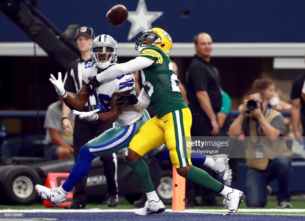 Dez Bryant #88 of the Dallas Cowboys pulls in a touchdown pass to score against Damarious Randall #23 of the Green Bay Packers in the second quarter at AT&T Stadium on October 8, 2017 in Arlington, Texas.