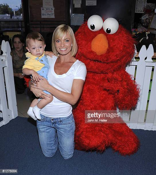 Dezi James, Jamie Presley and Elmo attend the Playroom's first anniversary benefiting Friends of the Family hosted by Melissa Joan Hart on May 28,...