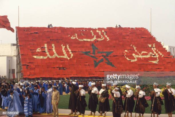 Défilé pour le 57e anniversaire du monarque au Maroc le 14 juillet 1986